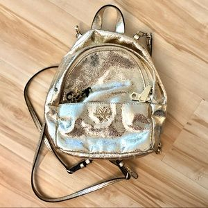 VICTORIAS SECRET foil gold metallic mini backpack
